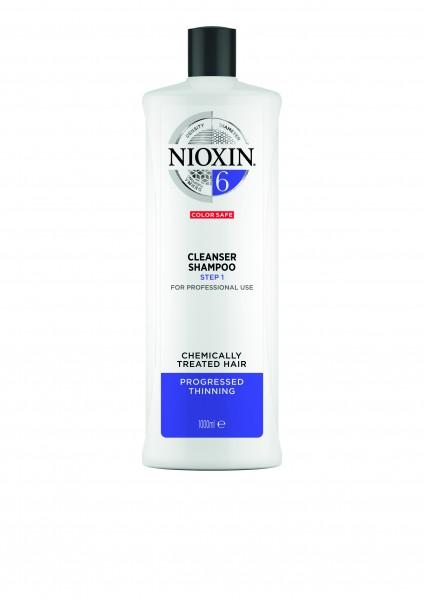 NIOXIN System 6 Cleanser Shampoo für chemisch behandeltes Haar (blondiert/dauergewellt/geglättet) -